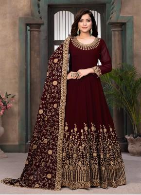 Faux Georgette Maroon Resham Floor Length Anarkali Salwar Suit