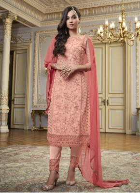 Faux Georgette Pink Embroidered Designer Pakistani Suit