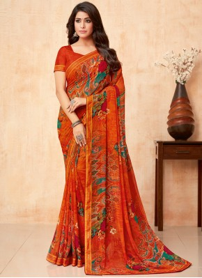 Faux Georgette Printed Casual Saree in Red