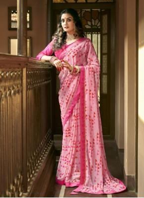 Faux Georgette Printed Saree in Pink