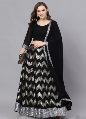 Faux Georgette Readymade Lehenga Choli in Black