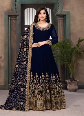 Faux Georgette Resham Blue Floor Length Anarkali Suit