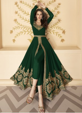 Faux Georgette Resham Green Anarkali Salwar Kameez