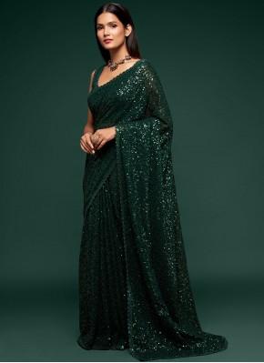 Faux Georgette Sequins Green Classic Designer Saree
