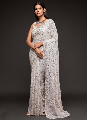 Faux Georgette Sequins Off White Trendy Saree