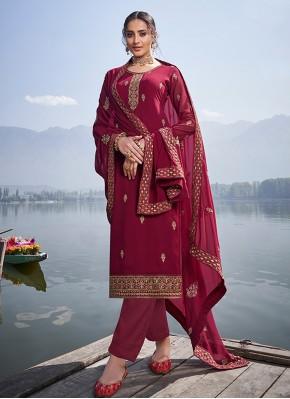Faux Georgette Trendy Salwar Suit in Maroon
