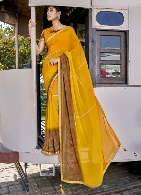 Faux Georgette Yellow Abstract Print Printed Saree