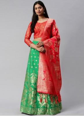 Festal Green and Rose Pink Mehndi Lehenga Choli