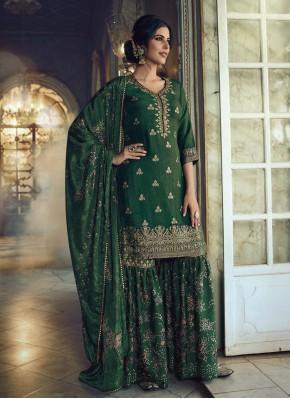 Festal Green Jacquard Silk Designer Pakistani Suit