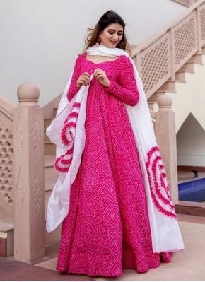 Festal Hot Pink Print Readymade Suit