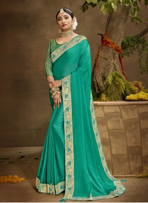 Festal Sea Green Chanderi Designer Traditional Saree