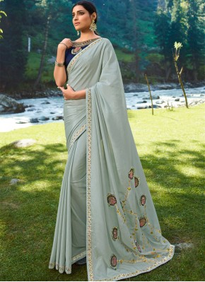 Festal Silk Embroidered Grey Traditional Saree