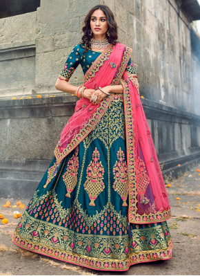 Festive Function Wear Designer Lehenga Choli In Teal Color