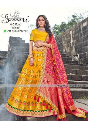 Festive Function Wear Designer Lehenga Choli In Yellow Color