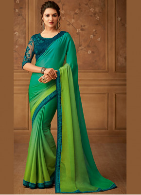 Fetching Border Sangeet Designer Saree