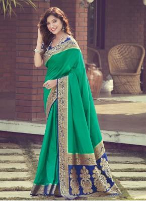 Fetching Silk Green Woven Designer Traditional Saree