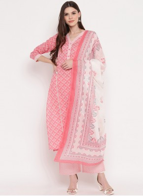 Fine Cotton Pink Readymade Suit