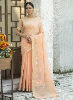 Fine Resham Peach Cotton Classic Designer Saree