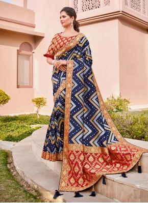 Fine Silk Blue Zari Classic Saree