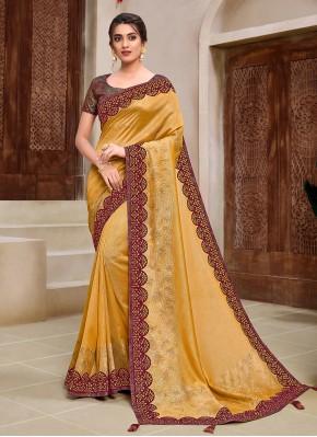 Flamboyant Applique Yellow Georgette Classic Saree