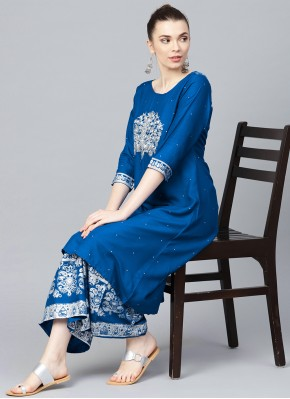 Flamboyant Blue Party Wear Kurti