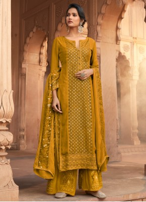 Flamboyant Mustard Embroidered Georgette Designer Pakistani Suit