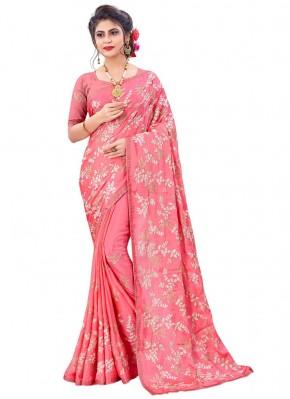 Flamboyant Pink Faux Chiffon Classic Designer Saree