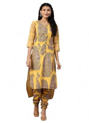 Flamboyant Printed Faux Crepe Mustard Churidar Salwar Suit
