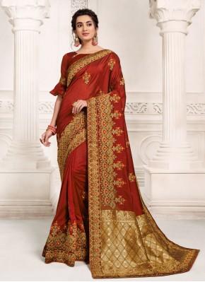 Flamboyant Silk Ceremonial Designer Saree