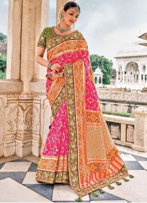 Flamboyant Silk Pink Contemporary Saree