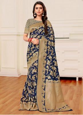 Flamboyant Weaving Navy Blue Trendy Saree