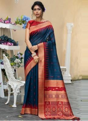 Flamboyant Weaving Tussar Silk Designer Traditional Saree