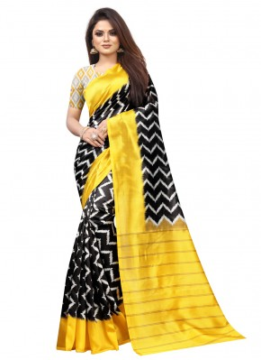 Flattering Black and Yellow Traditional Saree