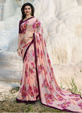 Flattering Faux Georgette Multi Colour Abstract Print Printed Saree
