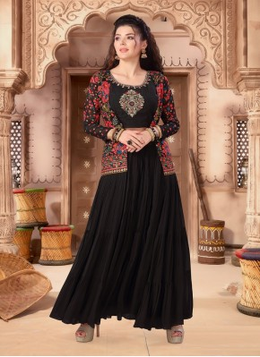 Flattering Indo Western Style Suit Embroidered in Black Chiffon