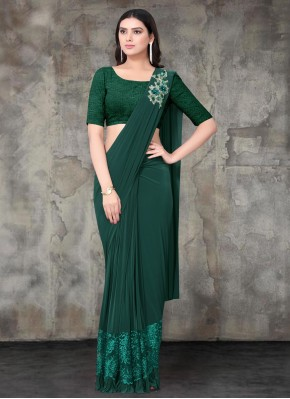 Flattering Lycra Green Embroidered Contemporary Saree