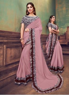 Flattering Sequins Pink Classic Saree