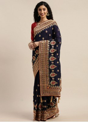 Flattering Weaving Poly Cotton Navy Blue Designer Traditional Saree