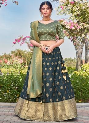 Flattering Weaving Silk Teal Bollywood Lehenga Choli