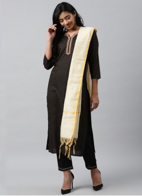 Flawless Cotton Black Embroidered Trendy Salwar Suit