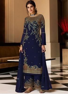 Flawless Embroidered Faux Georgette Blue Designer Pakistani Salwar Suit