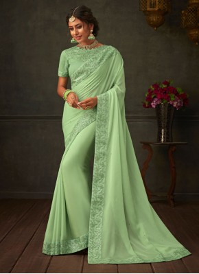 Flawless Green Ceremonial Classic Saree