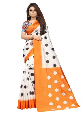 Flawless Raw Silk Off White Abstract Print Traditional Saree