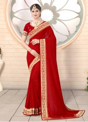 Flawless Silk Red Classic Designer Saree