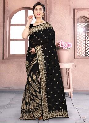 Flawless Vichitra Silk Black Embroidered Classic Saree