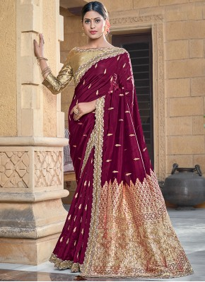 Flawless Weaving Wine Silk Traditional Designer Saree