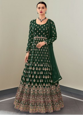 Floor Length Anarkali Suit Embroidered Faux Georgette in Green