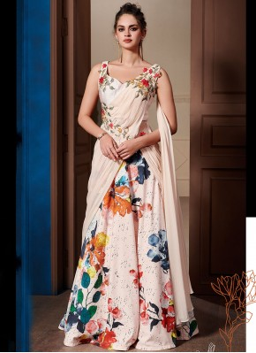 Floral Fancy Fabric Embroidered Designer Gown