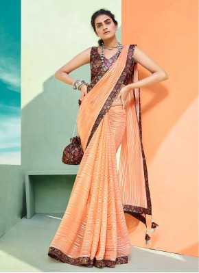 Floral Faux Chiffon Classic Designer Saree