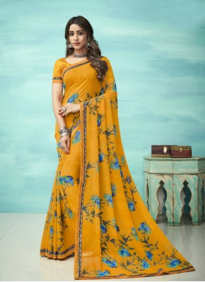 Floral Faux Georgette Yellow Casual Saree